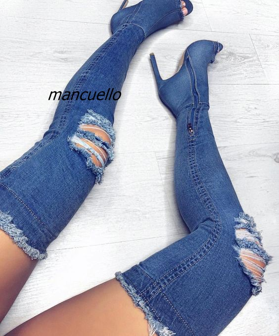 Fancy Blue Denim Cut-out Stiletto Heels Over the Keen High Boots Fashion Women Jeans Peep Toe Side Zip Sandals Booties Hot Sell цена