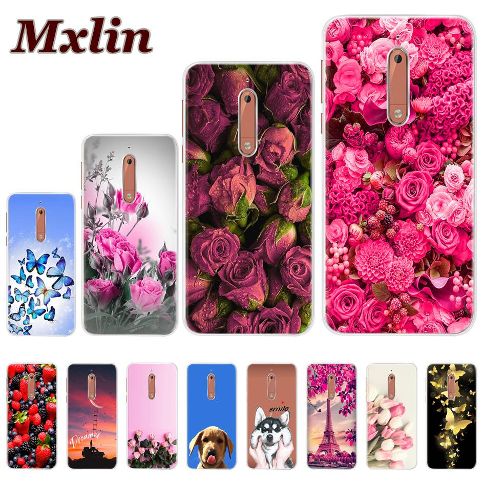 For <font><b>Nokia</b></font> 5 Case Ultra Thin Silicon Cover Soft TPU Flower Painting Phone Case For <font><b>Nokia</b></font> 5 Cover Nokia5 TA-1024 TA-<font><b>1053</b></font> Capa 5.2
