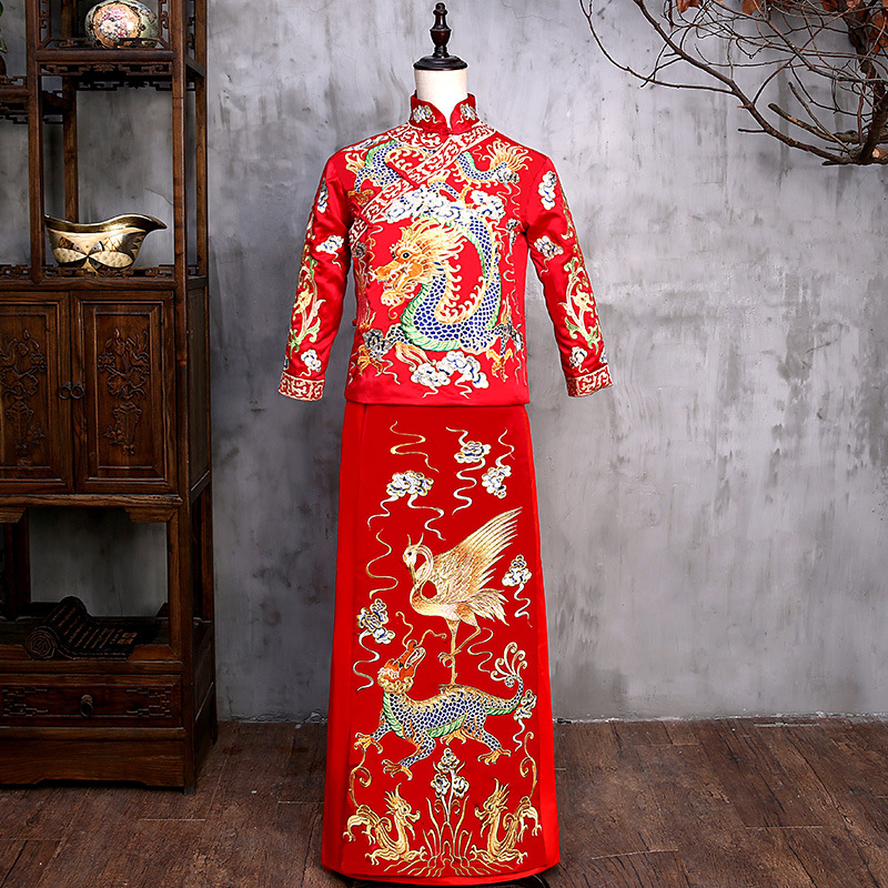 New Arrival Male Red Cheongsam Chinese Style Costume The Groom Dress Jacket Long Gown Traditional Chinese Wedding Qi Pao For Men