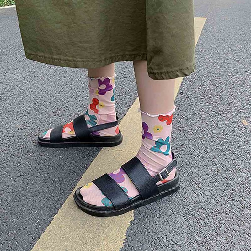 Women's Harajuku Breathable Floral Socks Hosiery Nylon Mesh Socks Lady Female Hosiery Japanese Art  Flowers Socks