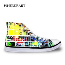 Купить с кэшбэком WHEREISART Shoes Male Music Note Men Shoes Casual Breathable Drumming Graffiti Print Vulcanize Shoes High Top Sneakers For Men