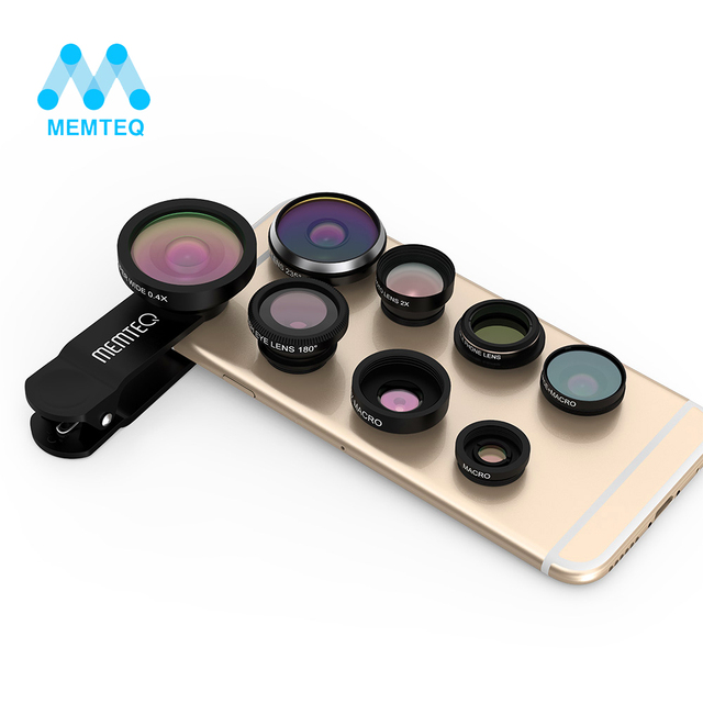 MEMTEQ 8 in 1 Clip-on Cell Phone Lens camera lens,Super Fisheye + Wide Angle + Macro Camera Lens + EXT barlow 2X +CPL polarizer