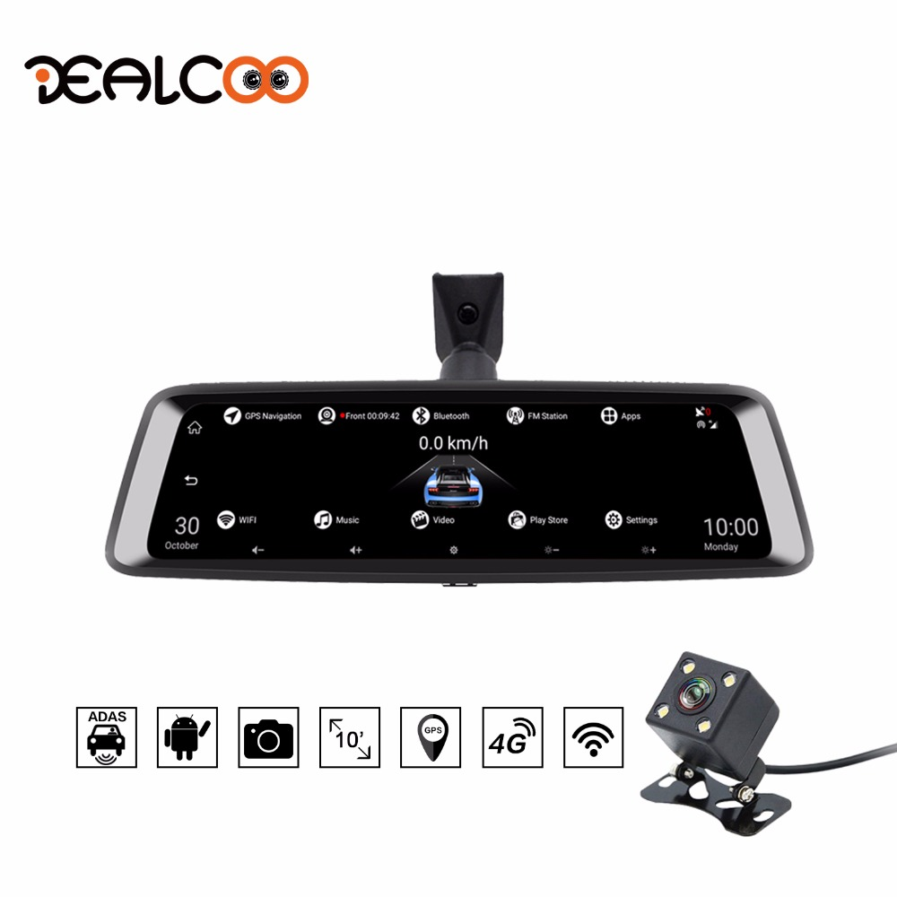 Dealcoo Dash Cam 9.88 IPS Screen ADAS 1080P Android Dual Lens Rearview Mirror Car Camera DVR Registrator GPS Parking Monitor