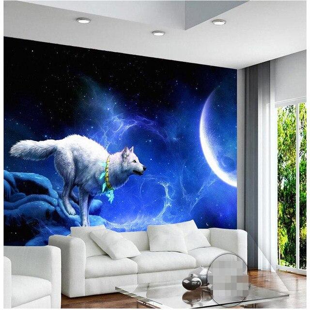 Acheter beibehang papier peint blanc loup for Decor papier peint mural
