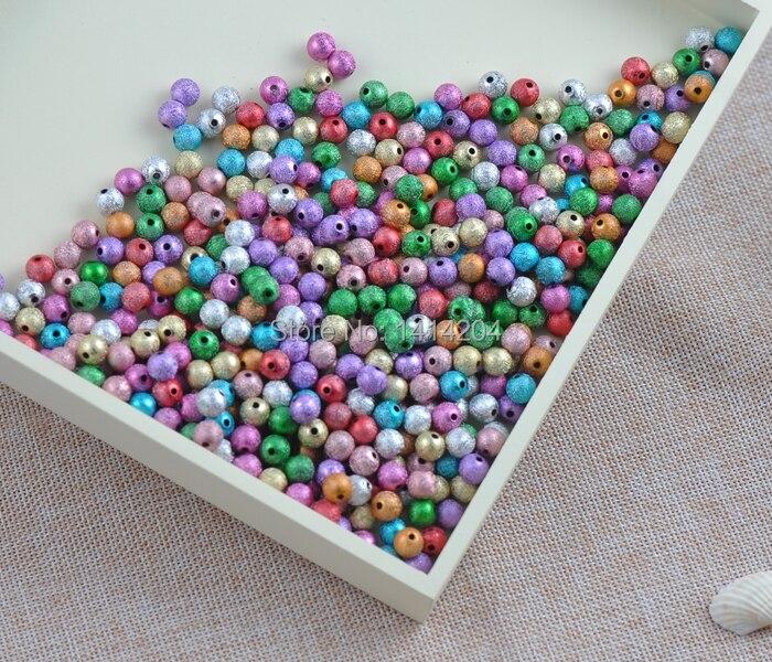 400 шт. 6 мм Смешанные Цвет Stardust Акриловые круглые шарики прокладки для украшения ручной работы 400 шт. 6 мм ykl0239-6