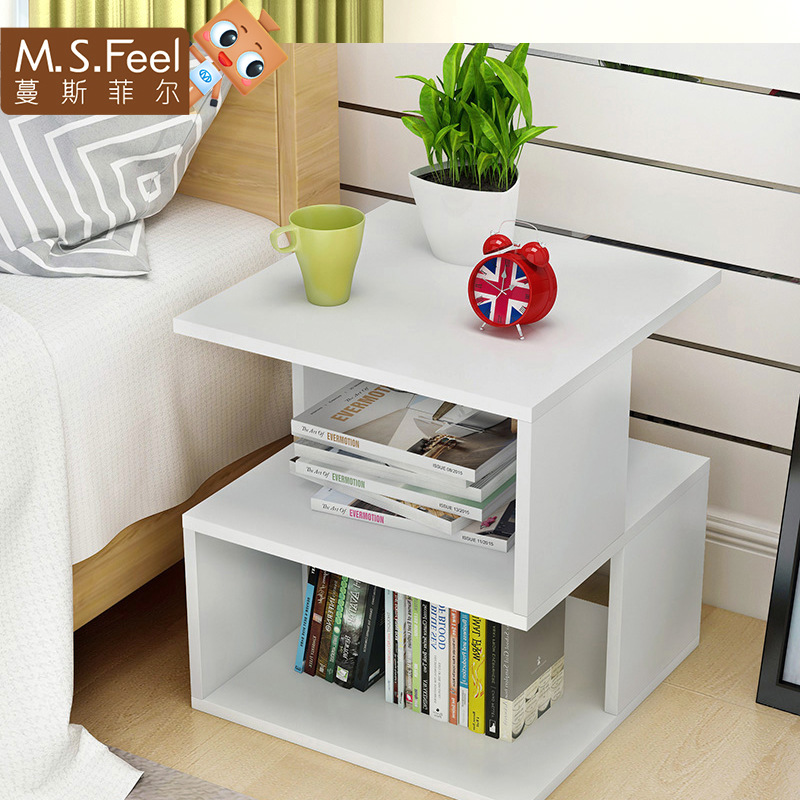 Mini white Living Room Console Tables Furniture geometry Bedside cupboard wooden Small table 40*40*43CM waterproof reinforce