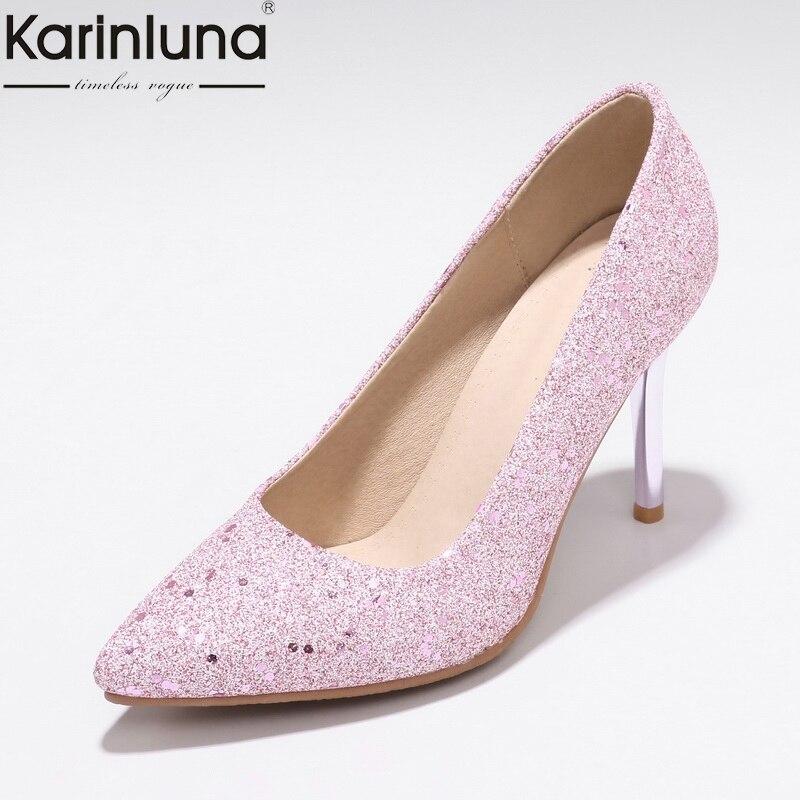Karinluna 2019 Brand New Plus Size 48 Elegant  Thin Heel Pumps Office Lady womens Shoes Chic Style PumpsKarinluna 2019 Brand New Plus Size 48 Elegant  Thin Heel Pumps Office Lady womens Shoes Chic Style Pumps