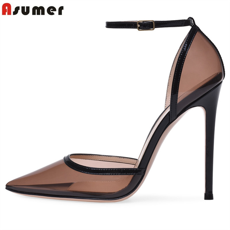 ASUMER Plus size 34 45 new 2019 buckle strap women pumps pointed toe Europe 12cm ultra