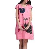 2017 Fashion  High Quality Cotton Linen Loose Casual Dress New Vintage Print Short Sleeve Women Summer Dresses Plus Si
