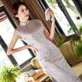 Women Autumn Cheongsam Dress Cotton Printed Vintage Chinese Traditional Costume Retro Qipao Plate Buttons Dresses