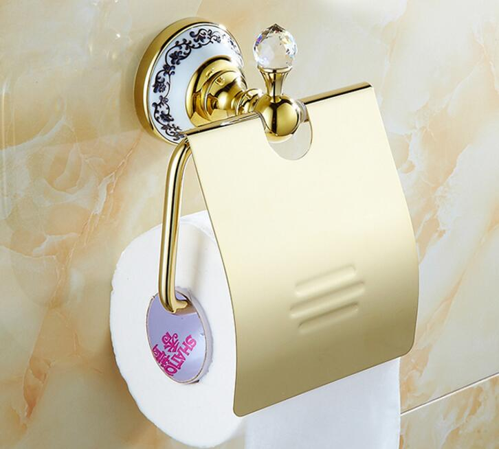 High Quality gold Toilet Paper Holder with diamond,Paper Roll Holder,Tissue Holder,Solid Brass -Bathroom Accessories Products polished gold solid brass toilet paper holder tissue box luxury high quality wall mounted roll holder toilet accessories sets t1