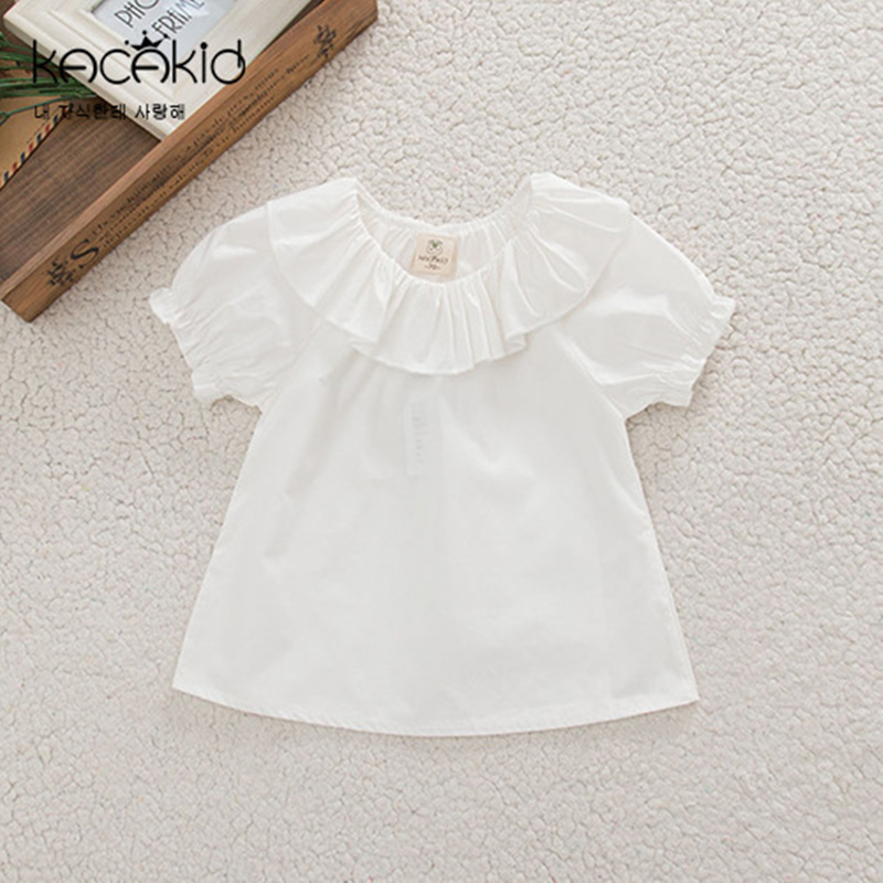 Children Shirts Collar Baby-Girls Short-Sleeves Ruffled White-Color Cotton Summer Tees