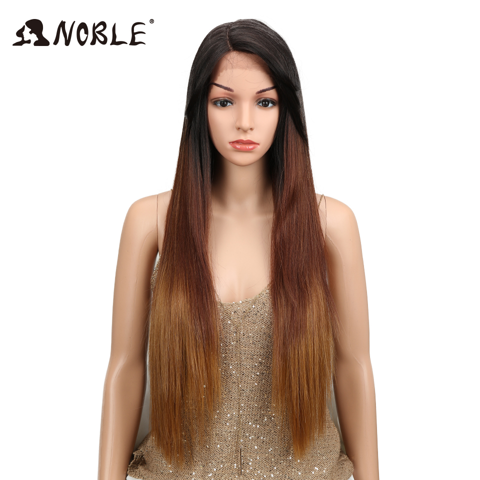 "Noble Hair Ombre Wig Colorful Heat Resistant Synthetic Hair Can Be Permed 32""Inch Long Straight Lace Front Wigs For Black Women(China)"