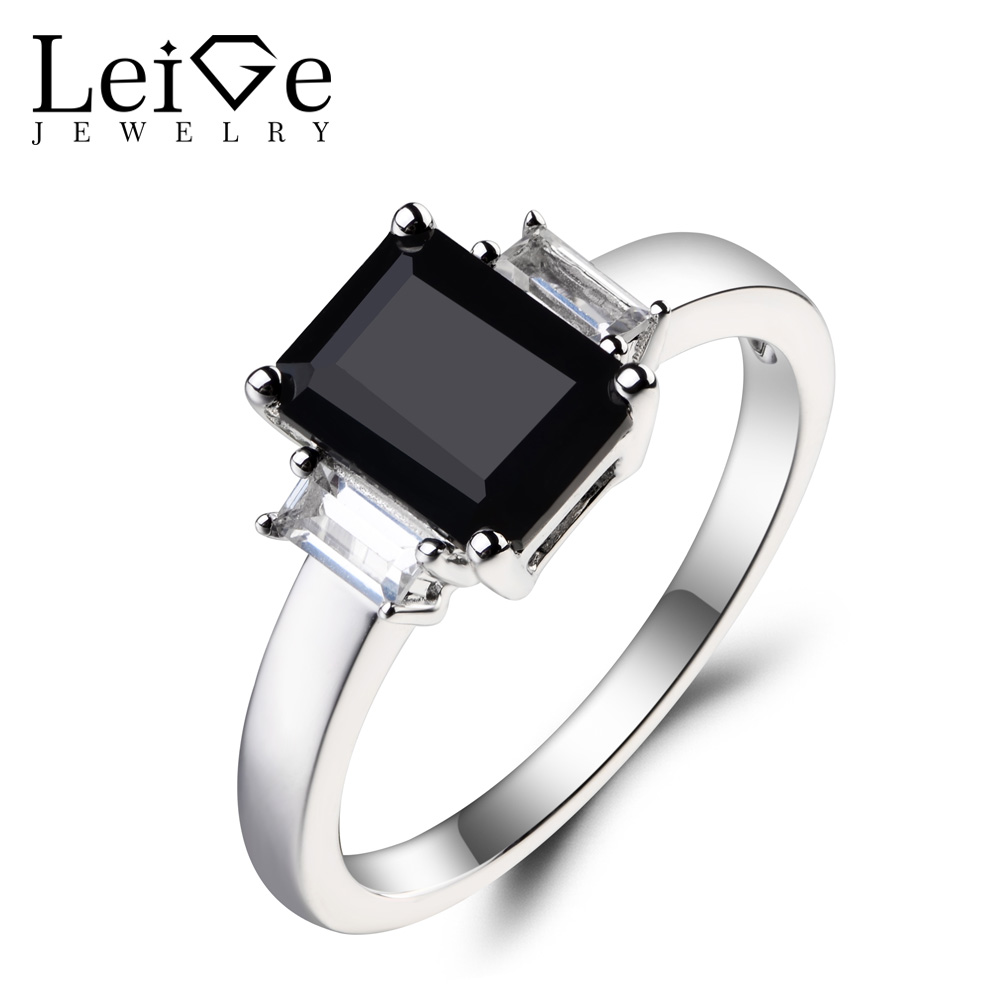 Leige Jewelry Natural Black Spinel Ring Proposal Ring Emerald Cut Black Gemstone 925 Sterling Silver Ring Gifts for Women цена