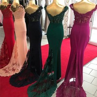 Plus Size Country Bridesmaid Dresses 2018 Off Shoulder Mermaid Wedding Guest Dress Lace Long Purple Burgundy Maid Of Honor Gowns