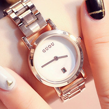GUOU Ladies Watch Luxury Rose Gold Watch Women Watches Full Steel Women's Watches Calendar Clock saat montre femme reloj mujer