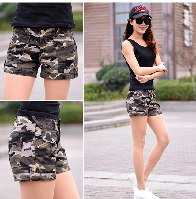 2017 New Summer Military Cargo Shorts Women Brand Casual Cotton Multi Pocket Female Fashion Camouflage Shorts plus size S~3XL