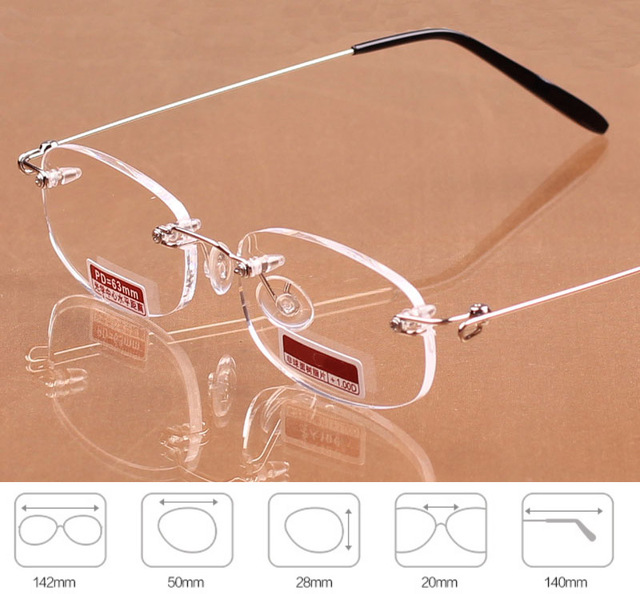 Rimless Eyeglasses Memory Alloy Frame Resin Ultralight Boxed Reading Glasses Women Men Eyewear Unisex +1.0 1.5 2 2.5 3 3.5 4