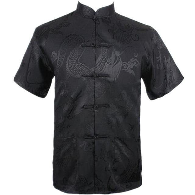 Новый Черный Китайский Мужчины Летний Отдых Рубашки Высокого Качества Шелк Район Кунг-фу Тай-Чи Футболки Плюс Размер Ml XL XXL XXXL M061306