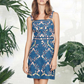 Высокое Качество 2017 Лето Впп женщины леди Платья Элегантный цветочный Вышивка Спагетти Ремень Слинг Джинсовые Dress Размер XL vestidos
