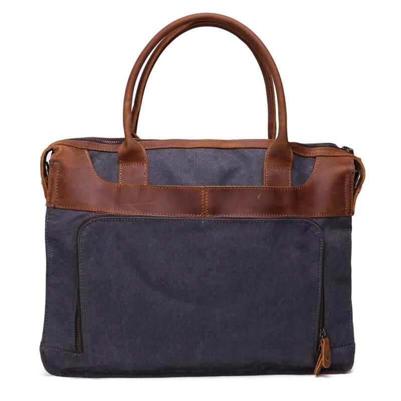 ROCKCOW Vintage Style Leather Waxed Canvas Briefcase Bag Messenger Shoulder Bag Men Handbag YD2193 rockcow vintage vegetable tanned leather briefcase men messenger bag laptop bag 9043
