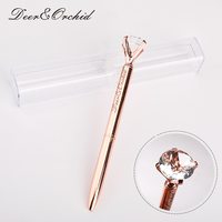 Metal Ballpoint Pen Black Ink Diamond Shaped Artificial Crystal Pen With Plastic Box Replaceable Refill Office