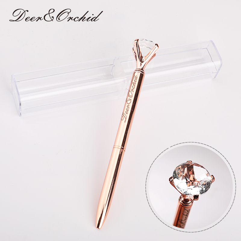 Metal Ballpoint Pen Black Ink Diamond Shaped Artificial Crystal Pen with Plastic Box & Replaceable Refill Office School Supply стоимость