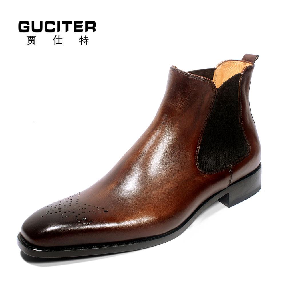 Goodyear blake handmade customized men's leather Chelsea  boots shoes keep warm use fur or Sheepskin wool-one