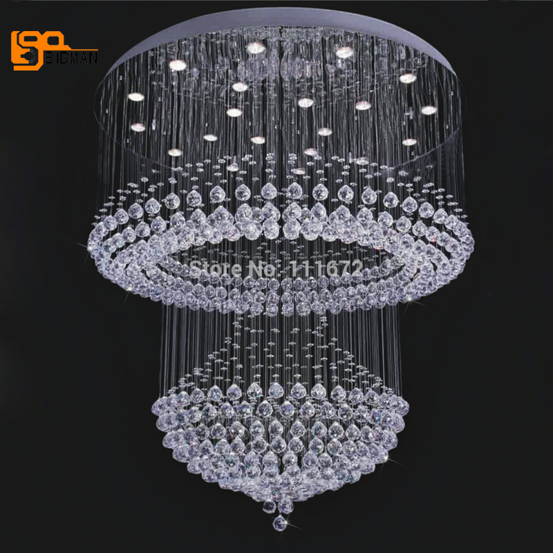 New Modern Crystal Lamp Large Crystal Chandeliers Lustres Foyer Chandeliers LED Light In