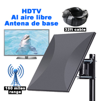 SatXtrem 318A Digital HDTV Outdoor Indoor Base Antenna DVB T 260km 160 Miles Signal Amplifier Aerial With 32.8ft Cable Free