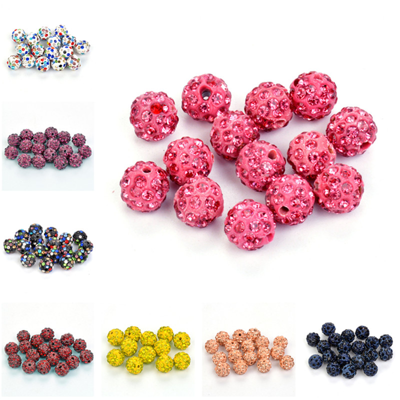 Beads & Jewelry Making Jewelry & Accessories 50pcs 10mm 33colors Shamballa Beads Crystal Disco Ball Beads Shambhala Spacer Beads Shamballa Bracelet Crystal Clay Beads 100% High Quality Materials