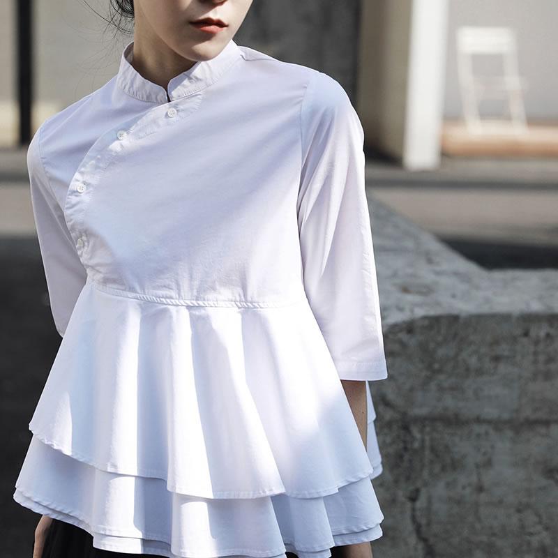 De 2019 Mujer Corea Botón Wbb3103 Primavera Casual Blusa Sólido Color Cuello Mujeres Las Media Manga xitao La White Moda qHSXEc7