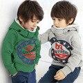 Outono e inverno além de veludo camisola nova criança roupas meninos hoody letras moda childweater baby boy hoodies jaqueta
