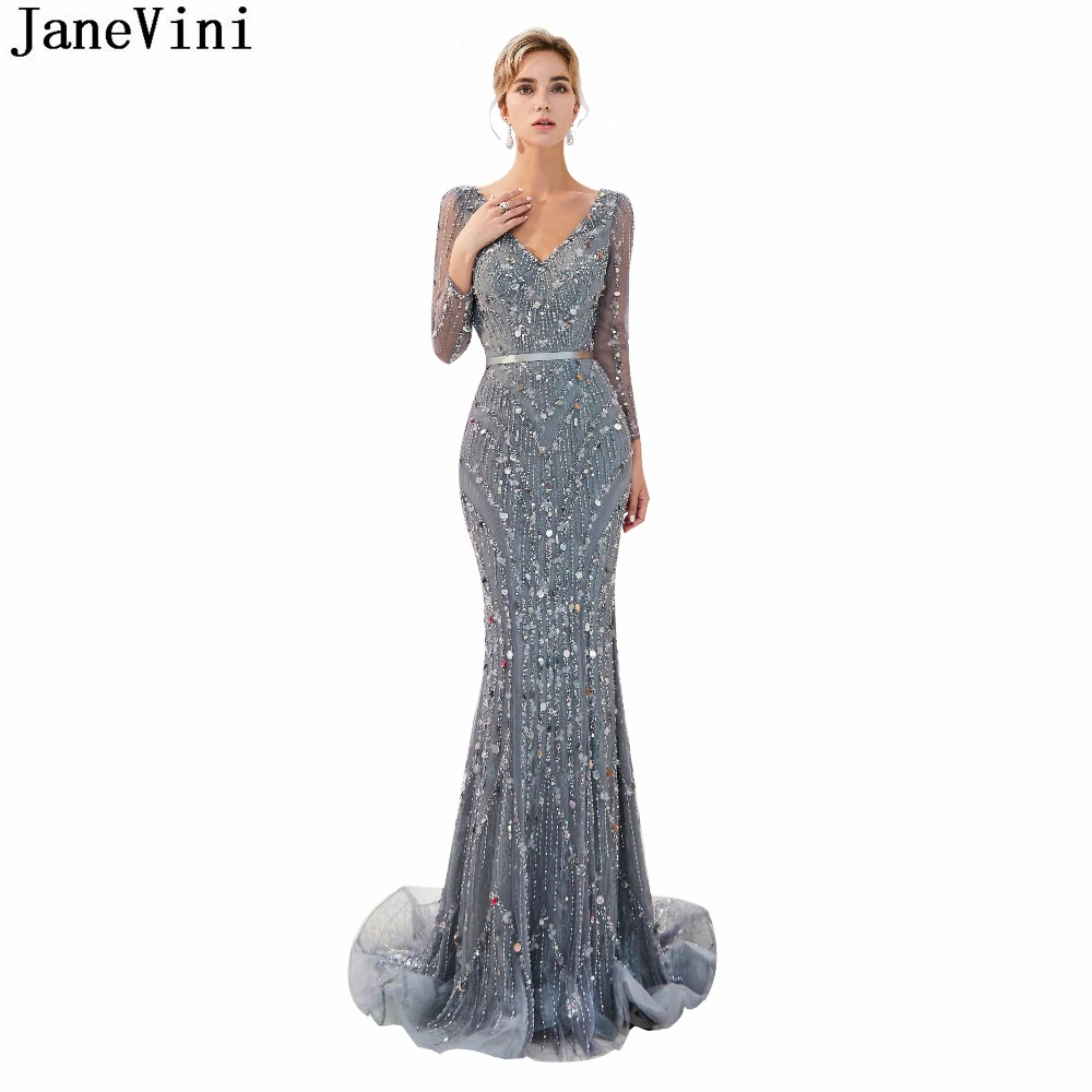 JaneVini 2018 Tulle Vintage Bridesmaid Dresses with Luxury Beading V Neck Long Sleeves Sweep Train Mermaid Prom Gowns for Women