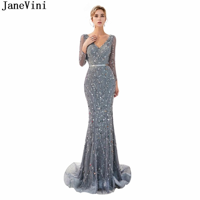JaneVini 2018 Tulle Vintage Bridesmaid Dresses with Luxury Beading V Neck  Long Sleeves Sweep Train Mermaid Prom Gowns for Women 145748157e21