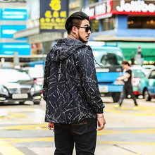 Autumn printing plus size of men with a jacket jacket large size loose jacket hat coat coat men thin 7XL 6XL 5XL 4XL 3XL