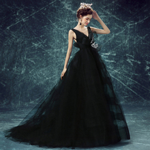 Gothic Black Tulle Evening Dresses 2017 Sexy Backless Spaghetti Strap Big Bow Appliques Lush Evening Gowns Abendkleider