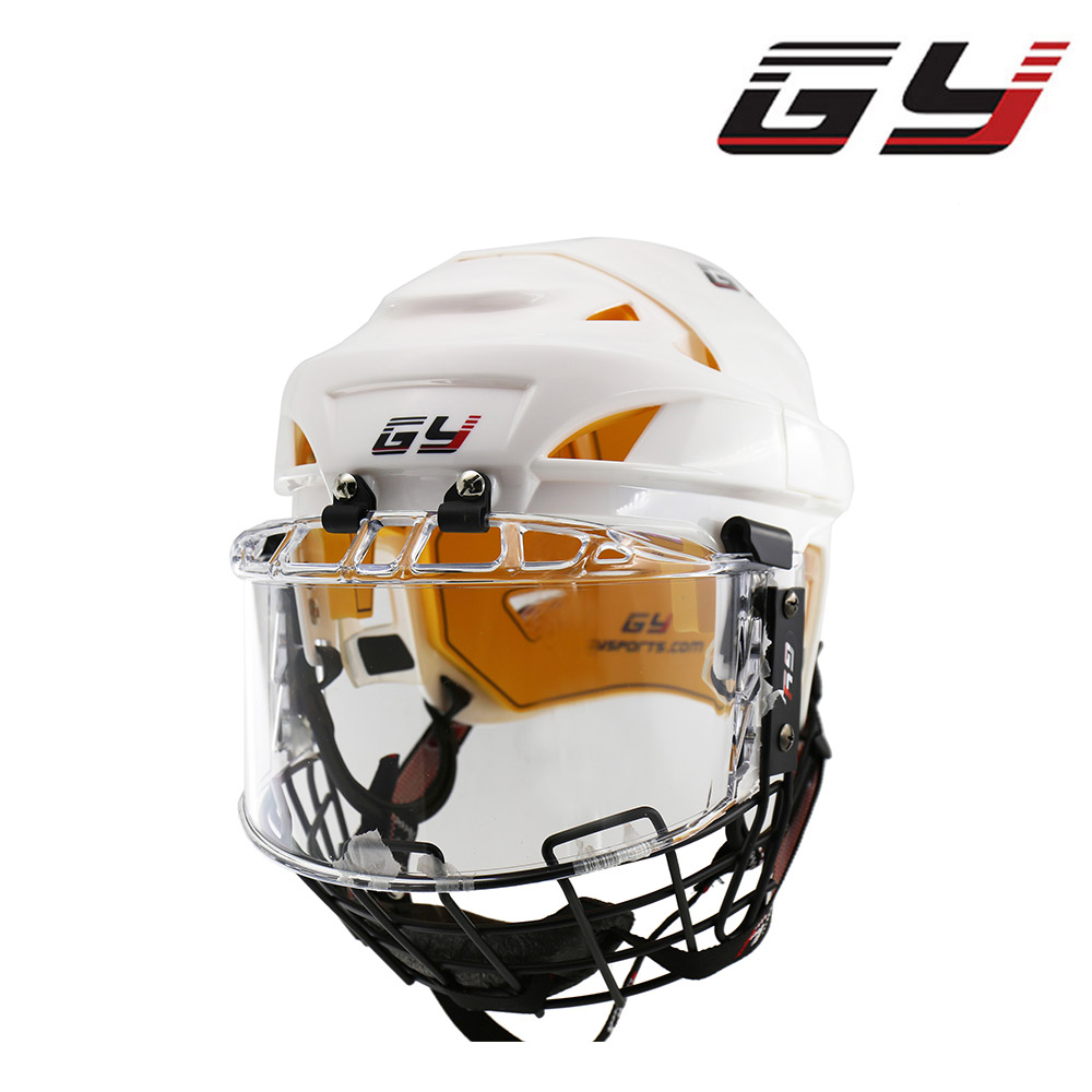 GY Hockey Helmet with Cage Combos Transparent Hockey Visor and A3 Steel Mask цена