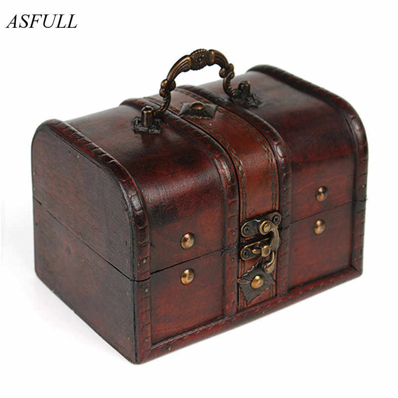 ASFULL 1pcs Chic Wooden Pirate Jewellery Storage Box Case Holder Vintage Treasure Chest for organizer wooden jewe free shipping