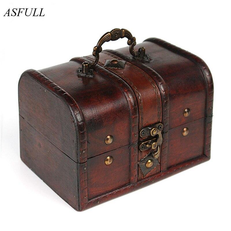 Asfull 1 pçs chique de madeira pirata jóias caixa de armazenamento titular do caso do tesouro do vintage baú para organizador de madeira jewe frete grátis