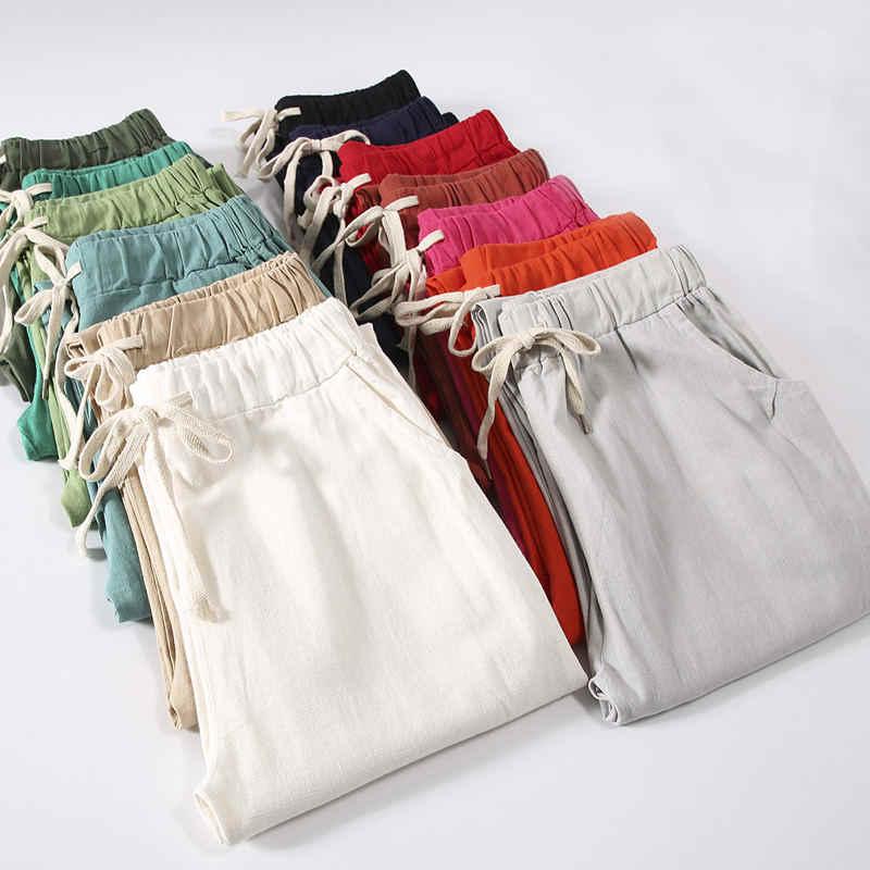 春夏パンツ女性パンタロン綿リネンハーレムパンツプラスサイズの巾着ズボン女性ゆるいカジュアルパンツ Q1342