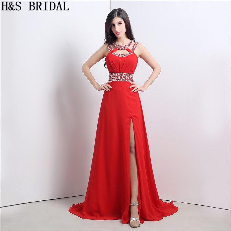 Женское вечернее платье на тонких бретельках H & S, красное шифоновое вечернее платье с разрезом и бисером, вечерние платья 2020, robe de mariage