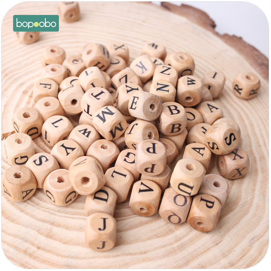 Bopoobo New Wooden Maple Square Shape Beads 12mm 20pc Chew Food Grade Teether Letter Beads DIY Crafts Sensory Chewing Toy