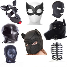 Various SM Leather Padded Hood Blindfold,Head Restraints Harness Mask, BDSM Bondage Gimp,Cosplay Fetish Adult Sex Toy For Couple