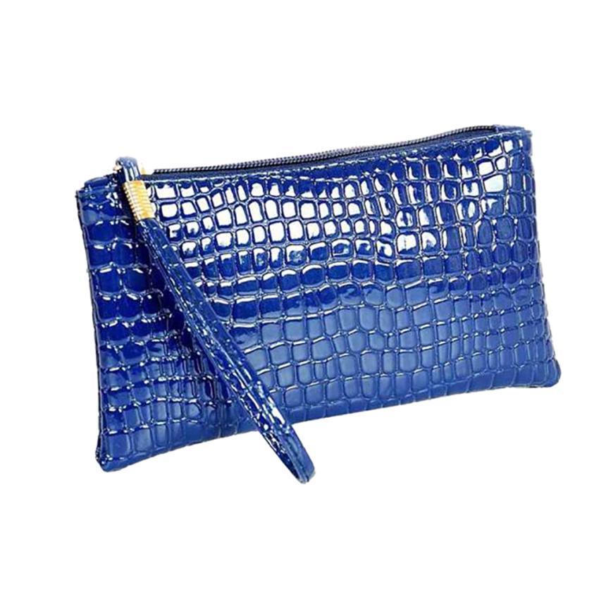 Кошелек для монет, Женский кошелек, пять цветов, Крокодиловая Кожа, клатч, сумка, кошелек для монет, короткие модные стильные сумки для женщин - Цвет: Синий