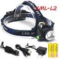 3800LM new Zoom CREE XML-L2 T6 LED Headlamp Headlight Torch flashlight head light lamp +2x18650 Battery+ Car USB charge