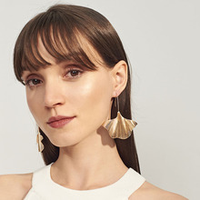 Alloy Leaf Earrings Creative Personality Large Leaves Modeling Long
