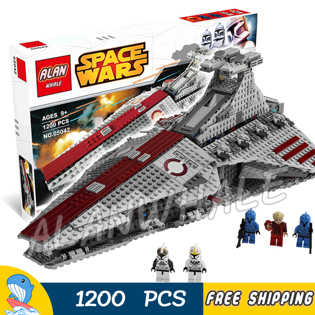 US $63 89 31% OFF|1200pcs Space Wars Venator class Republic Attack Cruiser  Spaceship Model Building Blocks Assemble Toy Brick Compatible With Lego-in