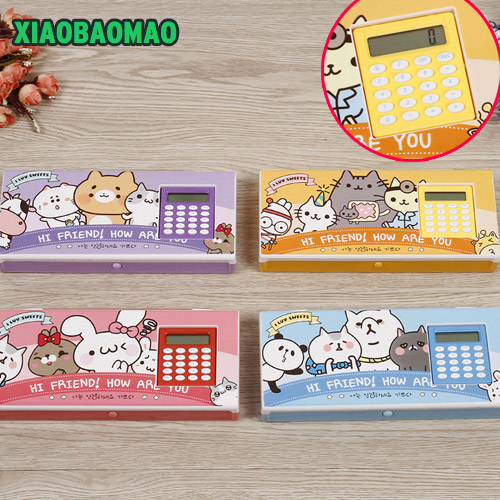 Very cute children multi-function cartoon style pencil box pencil case with calculator 4 color multi function white radish style peeler