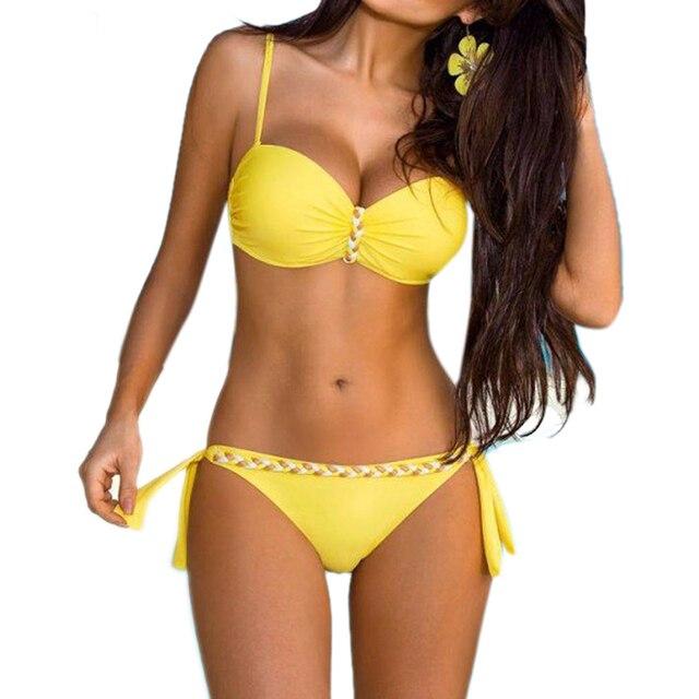 design senza tempo 58455 ffcf4 Giallo Backless Costumi Da Bagno A Fascia Bikini Brasiliano 2019 Push Up  Set Donne Sexy Solido Più Il Formato del Costume da bagno 3XL